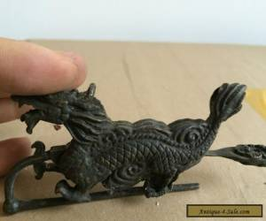 collectibles old china usable copper carved dragon shape lock and key hardware for Sale