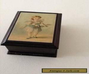 Antique Victorian Wooden Box With Charming Picture On The Lid 8cmc x 5.5 cms VGC for Sale
