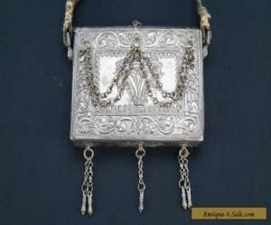RARE Antique Turkish Ottoman Silver Koran Case W/ Strap Quran Box Islamic Turkey for Sale