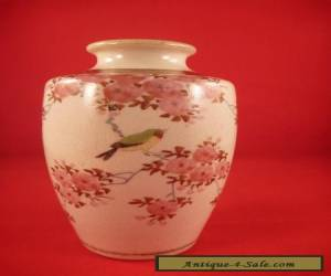 Small Satsuma Bird and Pink Blossom Vase made by Kinkozan for Sale