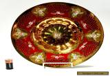 Large Ruby Red Gold & Enamel Centerpiece Bowl, Bohemian Czech, Stunning for Sale