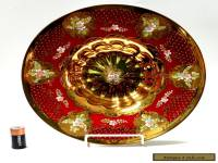 Large Ruby Red Gold & Enamel Centerpiece Bowl, Bohemian Czech, Stunning