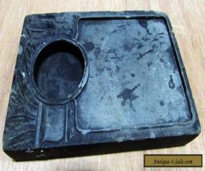ANTIQUE CHINESE BLACK INK STONE CARVED FOLIAGE PLANTS VASE BRUSH POT WELL for Sale