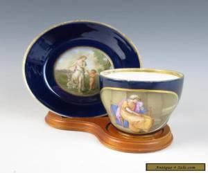 18thC MEISSEN Marcolini VENUS CUPID Portrait CUP SAUCER Cobalt Antique Porcelain for Sale