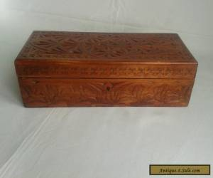 Hand Carved & Stained Wooden Box. for Sale