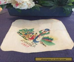 Korean Silk Fragment w Painted Scene Dated 1952 for Sale