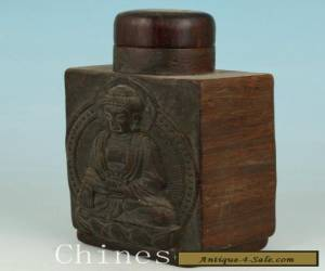 Chinese Tibetan Old Wooden Hand Carved Seated Buddha Statue Snuff Bottle Pot  for Sale