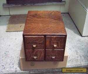 Antique BEAUTIFUL Tiger Oak 4 Drawer Library Card File Cabinet  for Sale