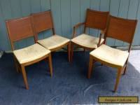 4 Vintage Mid Century Modern Cane Back Dining Chairs Velvet Gold Seats Danish