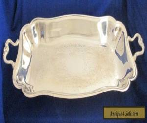 Antique Sheridan Silver Plated Footed Tray with Handles  for Sale