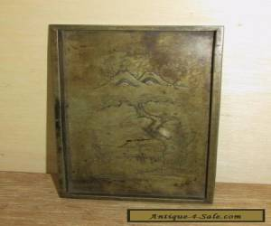 Antique Chinese Bronze Tray Possible Scholar's Item Early Engraved  for Sale