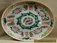 "ANTIQUE CHINESE EXPORT EARTHENWARE HAND PAINTED 8.75"" PLATE, BATS FRUIT SYMBOLS"