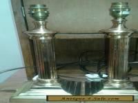Lovely vintage pair of brass column lamps