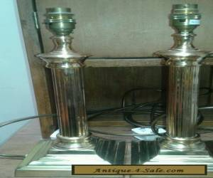 Lovely vintage pair of brass column lamps  for Sale