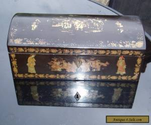 19TH CENTURY LARGE RARE CHINESE BLACK GUILDED LAQUERED DOMED BOX.  for Sale