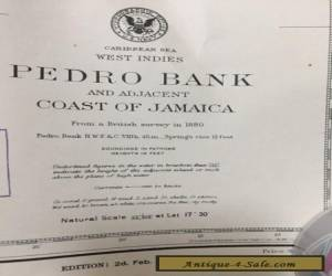 Vintage 1922 Coast of Jamaica and Pedro Bank Nautical Map 31 X 23 for Sale