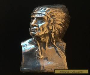 Antique Sterling Silver American Indian Bust (Hallmarked Burmingham circa 1900) for Sale