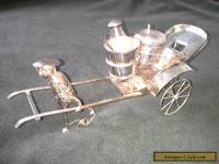 Antique Chinese Silver Cruet Set In The Form of Boy Pulling A Rickshaw