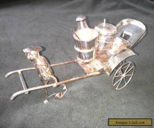 Antique Chinese Silver Cruet Set In The Form of Boy Pulling A Rickshaw for Sale