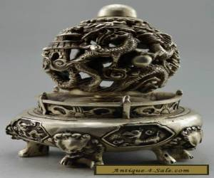 Collectible Decorated Handwork Tibet Silver Carve Dragon Ball Incense Burner for Sale