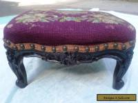 Antique Mahogany hand Carved Wood footstool needlepoint foot stool victorian