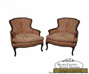 Quality Pair of French Louis XV Style Vintage Bergere Chairs for Sale