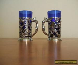 Pair of SILVER PLATE & GLASS GOBLETS/MUGS in Wooden Box. for Sale