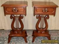 MAHOGANY LYRE TABLES Victorian Style, Carved Rose Handles, Drawer PAIR VINTAGE
