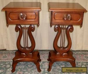 MAHOGANY LYRE TABLES Victorian Style, Carved Rose Handles, Drawer PAIR VINTAGE for Sale