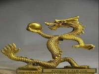 Chinese exquisite handmade brass Crystal Ball Gold dragon statue
