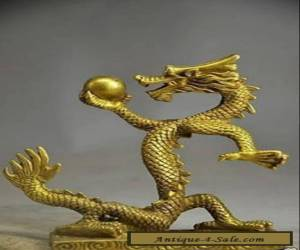 Chinese exquisite handmade brass Crystal Ball Gold dragon statue  for Sale
