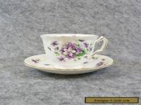 Aynsley Wild Violets Fine China Tea Cup & Saucer Plate, Purple Floral Butterfly
