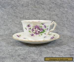 Aynsley Wild Violets Fine China Tea Cup & Saucer Plate, Purple Floral Butterfly for Sale