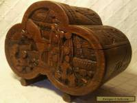Old Chinese Wooden Box With Carved Oriental Scenes