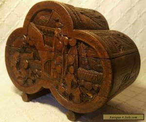 Old Chinese Wooden Box With Carved Oriental Scenes for Sale