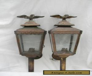 PAIR OF OLD METAL WALL LAMPS, WITH AN  IMPERIAL EAGLE FINIAL. for Sale