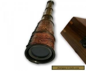 nautical solid brass spy glass telescope with decorative wood box ~ gift TC 033 for Sale