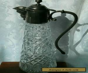Antique Vintage Cut Glass Silver Plated Jug Signed  for Sale