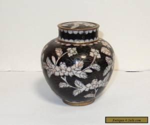 CHINESE CLOISONNE BLACK ENAMEL FLORAL GINGER JAR BOX for Sale