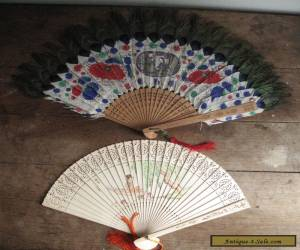 2 - Antique Chinese Hand Painted Hand Fan - Peacock Feathers for Sale