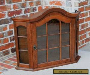 Antique French Oak Dome Top Wall Shelf Curio Glass Cabinet Bonnet Top Vitrine for Sale