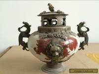 Collectible Decorated Old Porcelain & Tibet Silver Belle Incense Burner