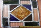 "VINTAGE VICTORIAN LEADED  RECTANGULAR COLOURED GLASS PANEL 9""x6"" for Sale"