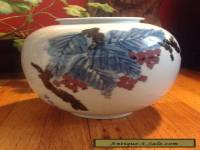 Large Japanese Studio Porcelain Bulb Vase Fruit on Branch Decoration Signed
