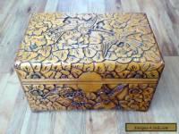 Large Vintage Carved Wooden Box with 'Birds'Design