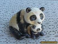"RARE Vintage 4"" 1976 Goebel Hummel Porcelain Figurine Panda Bear Mother & Baby"