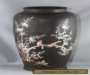 Stunning Hand Painted Hand Tooled Antique Chinese Wooden Vase for Sale