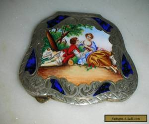 ANTIQUE ITALIAN SOLID SILVER & ENAMEL POWDER COMPACT for Sale