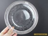 Antique Vintage Sterling Silver & Crystal Plate Charger Victorian Art