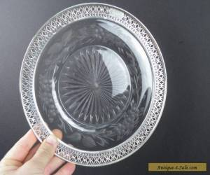Antique Vintage Sterling Silver & Crystal Plate Charger Victorian Art for Sale